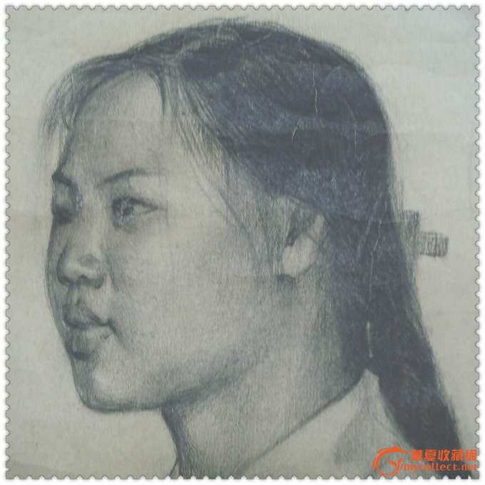 女民兵*文革大型手绘素描肖像画