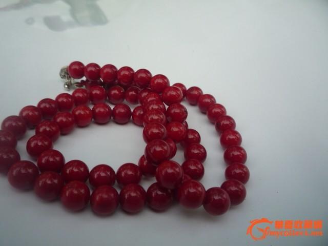 特价 本命年首选 意大利天然血红沙丁红珊瑚圆珠项链