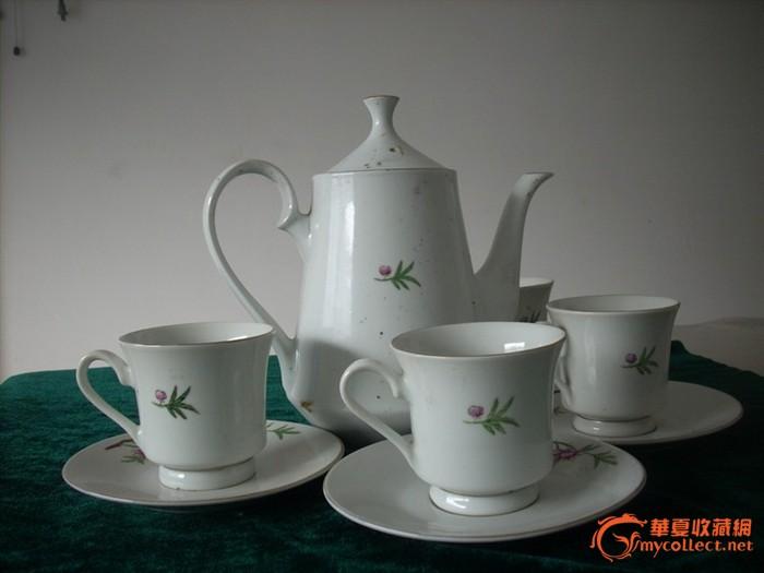 文革前后手绘金边喜鹊登梅茶具一套