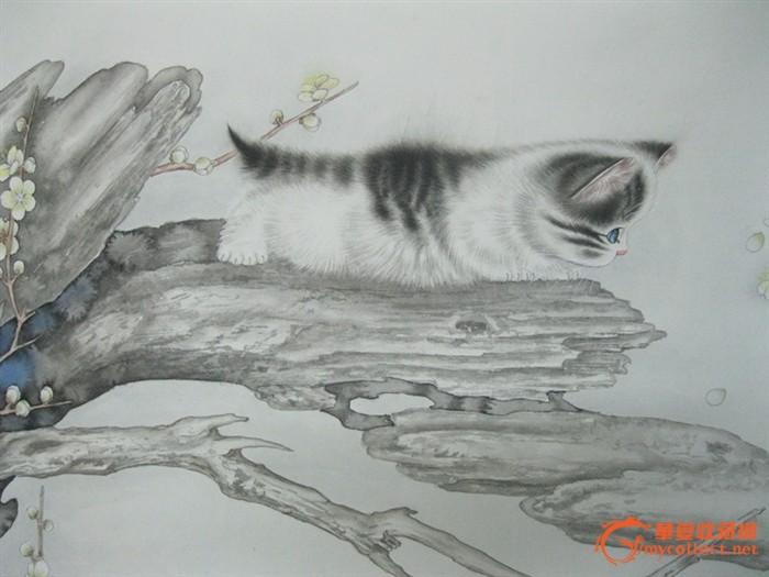 米春茂 工笔画 猫戏图