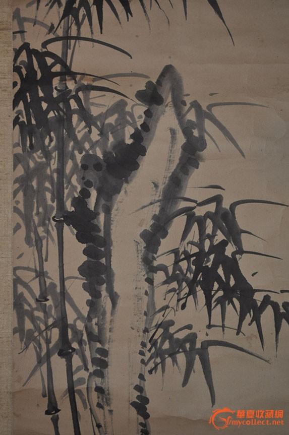 民国日本画家篁邨手绘水墨画《墨竹石》原作立轴