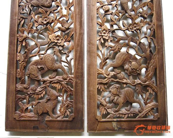 清,狮子 大象 木雕花窗一对 95x40x2 价6800