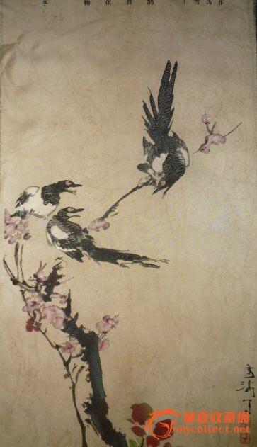 喜鹊梅花黑白贴图展示