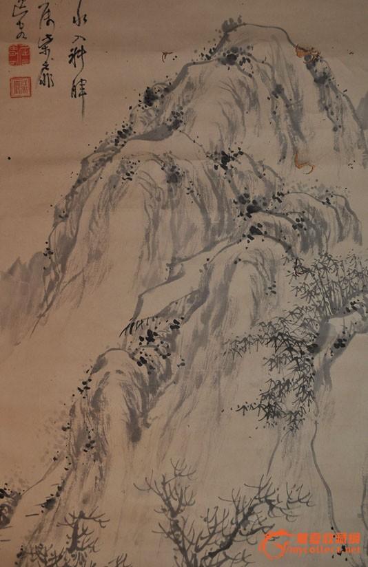民国日本画家江香巌手绘水墨画《远山郊外》原作立轴