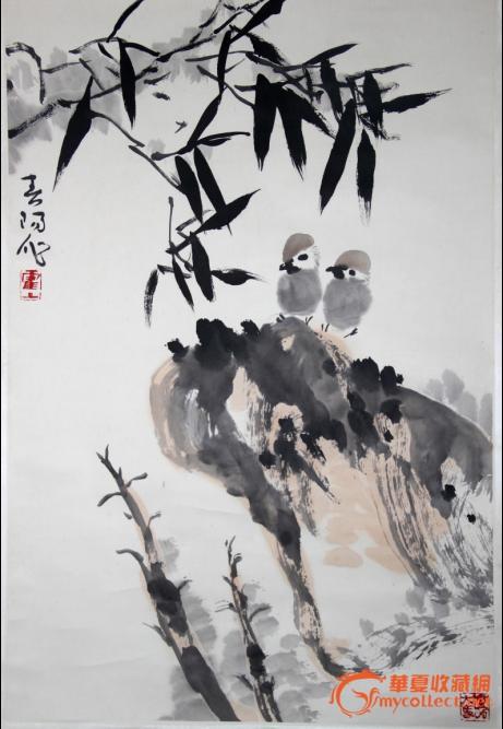 霍春阳 石头竹子小鸟