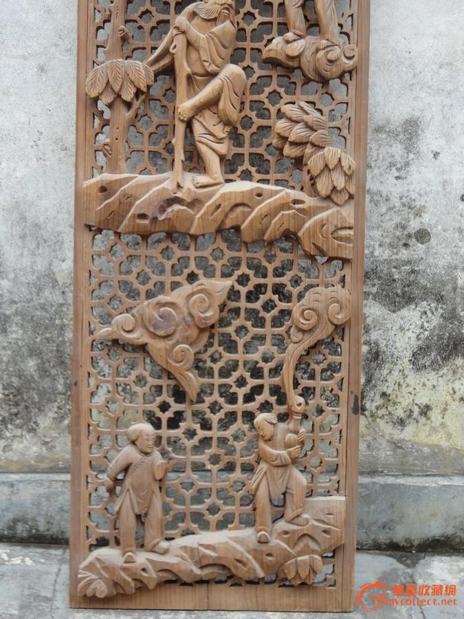 潮州木刻:清樟木雕满金钱群仙发宝祥云山石花树人物屏