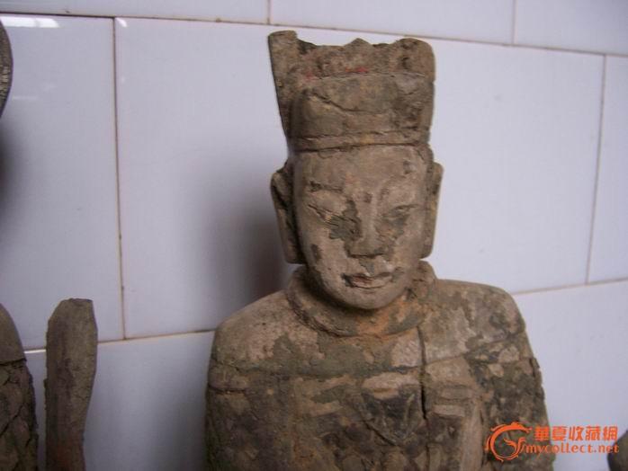 明代木雕神像四只