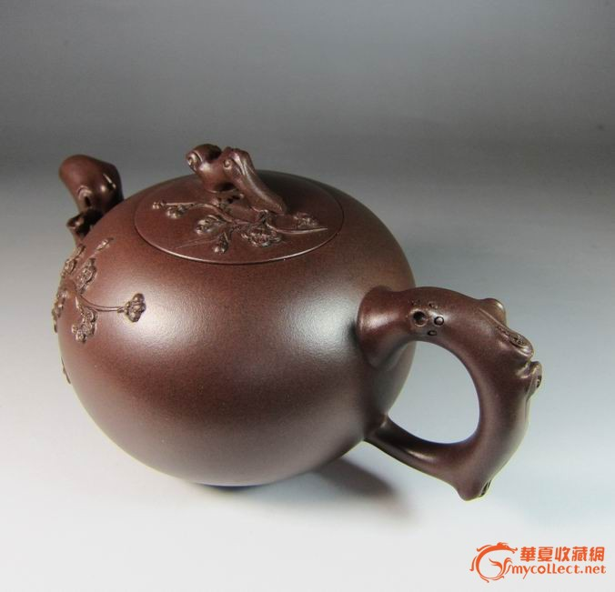 国家级工艺师周小明陶艺精品 松鼠葡萄壶 350cc老紫泥