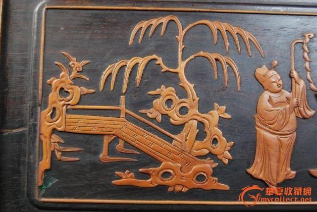 清代红木镶嵌黄杨木雕人物故事纹花板