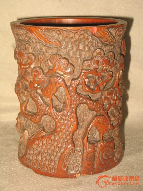 包老清代竹子雕刻仙鹤松树笔筒