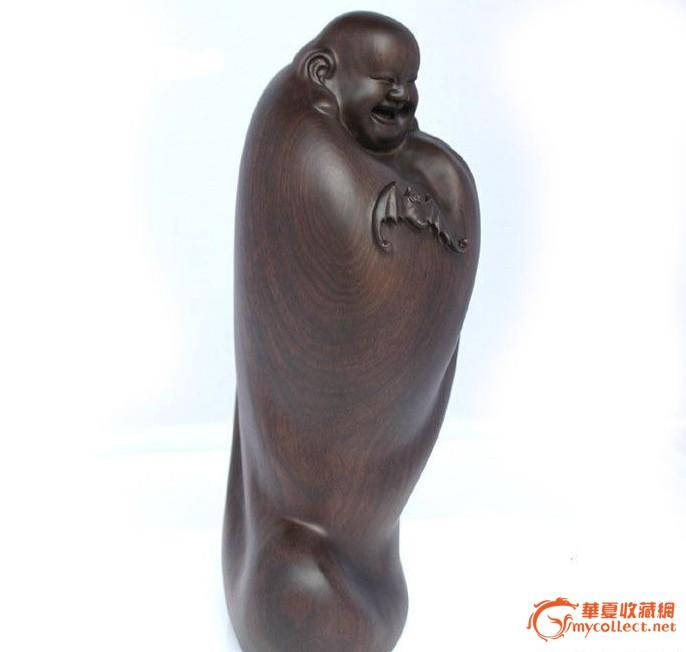 黑檀木雕佛像引福弥勒佛摆件