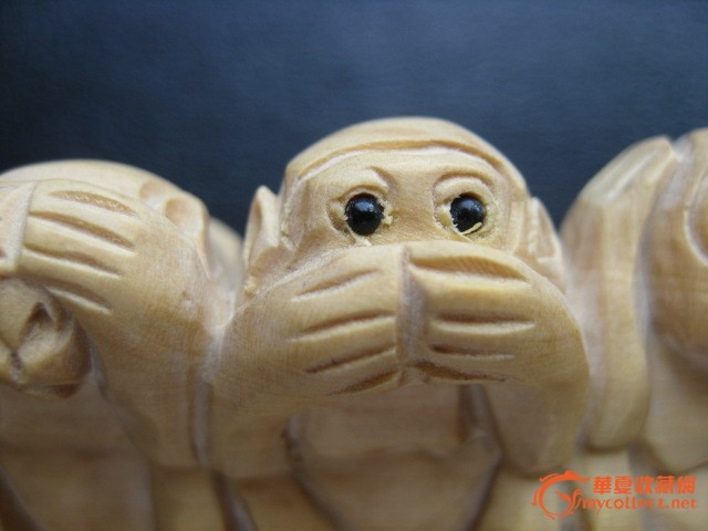 木雕四只小猴子