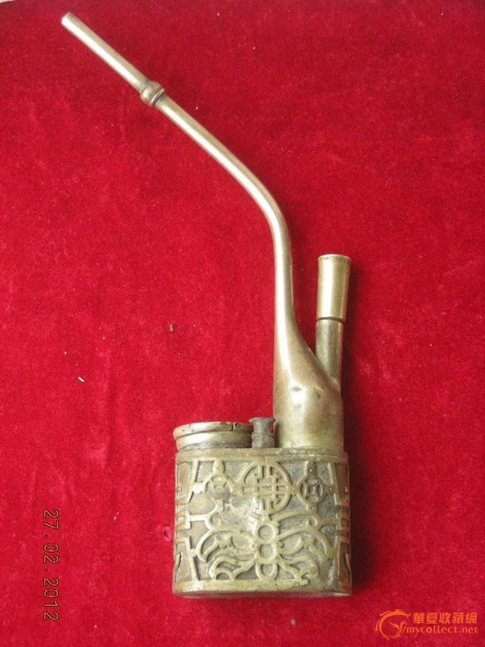 镂雕铜水烟袋 镂雕铜水烟袋价格 镂雕铜水烟袋图片 来自藏友雨泉斋 图片