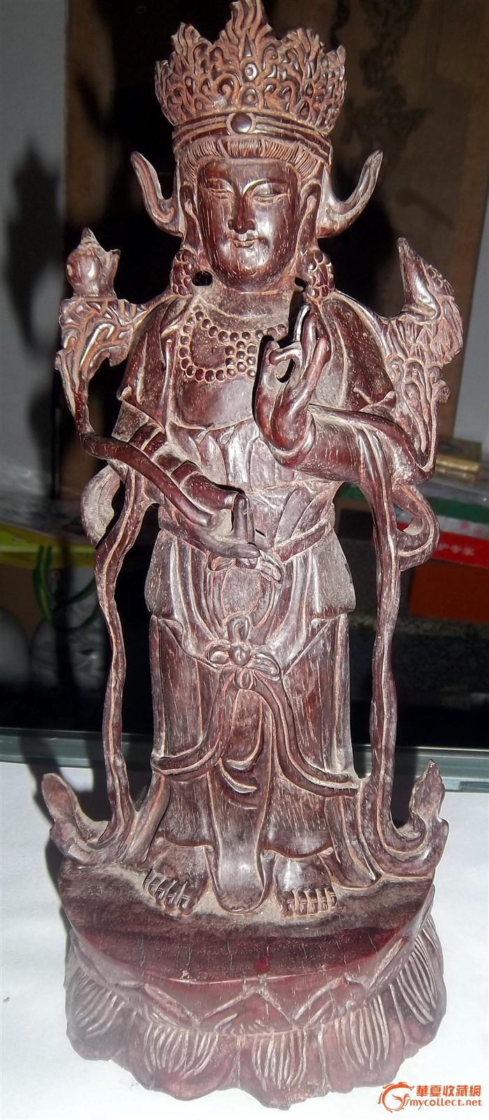 纯海南红木雕刻的藏佛像