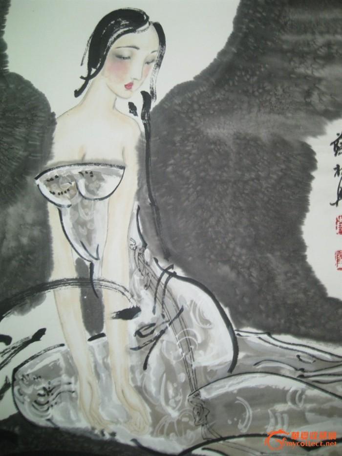 当代著名人物画家 薛林兴 仕女图立轴