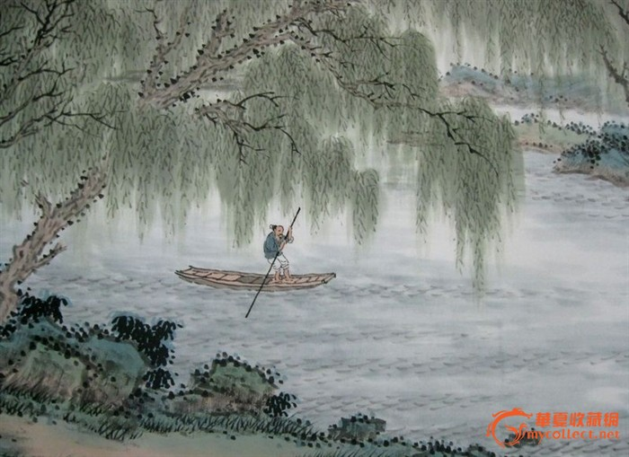 国画山水 溪岸烟柳