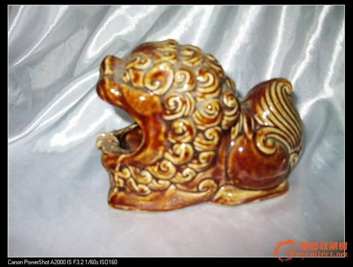 文革时期动物烟灰缸-古铜麒麟老枫溪美术瓷