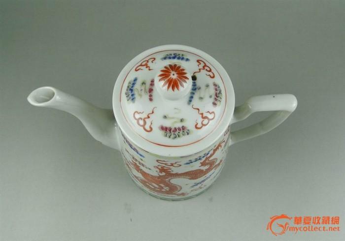 大清乾隆年制 粉彩矾红龙纹茶壶图片