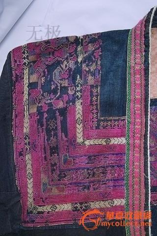 民族服饰收藏经典-带银饰的红瑶族手工蚕丝刺绣纺织