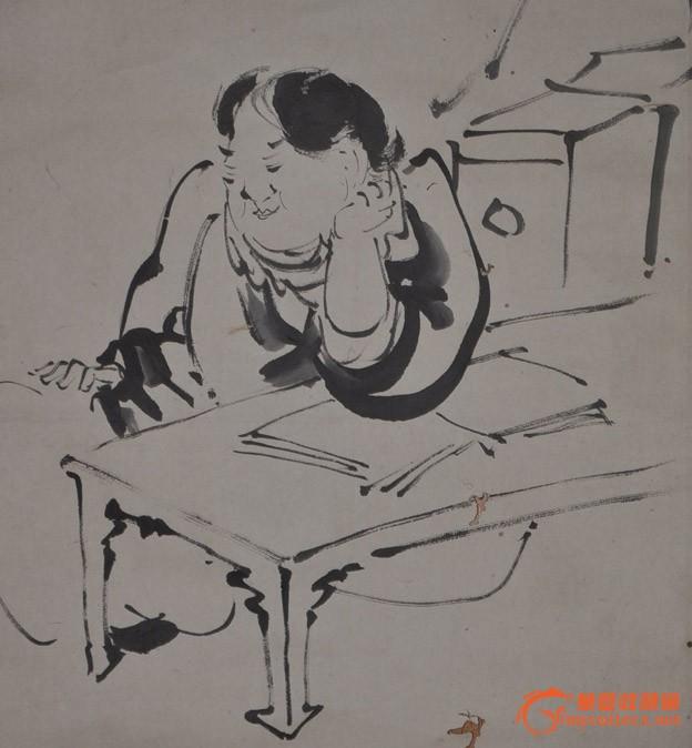 清代日本画家钓僲手绘题跋水墨淡彩人物群像画原作立轴 ◆清末民国