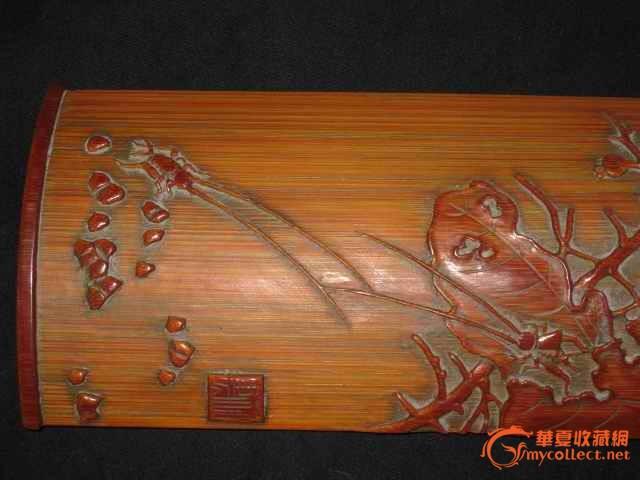 收来的手工雕刻牡丹花竹片