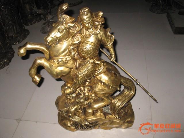精工铜器 纯黄铜关公骑马铜像 高55厘米 精工
