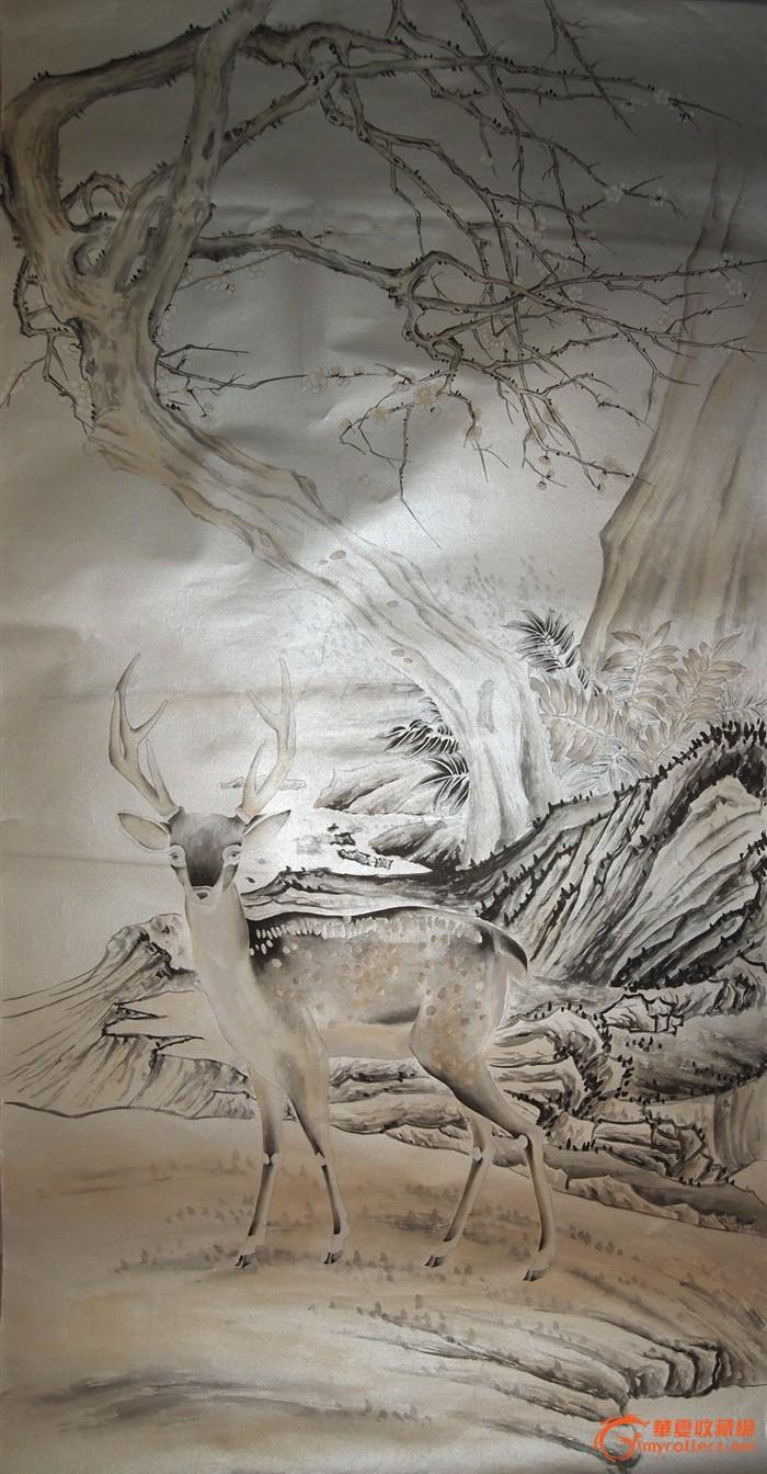 当代·工笔画精品·《泥银梅花树下梅花鹿》