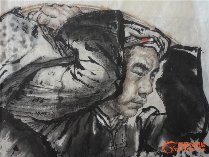 刘文西人物画精品---陕北石匠(六尺斗方)