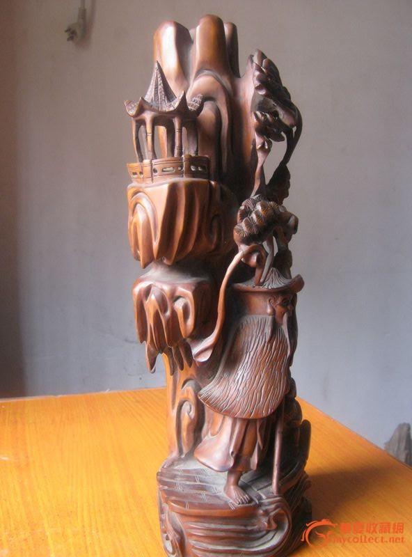 黄杨木 木雕 渔翁乐山子