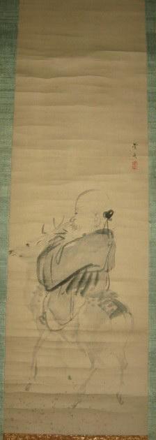 清代画家丰学手绘人物画原作《寿星骑鹿图》挂轴