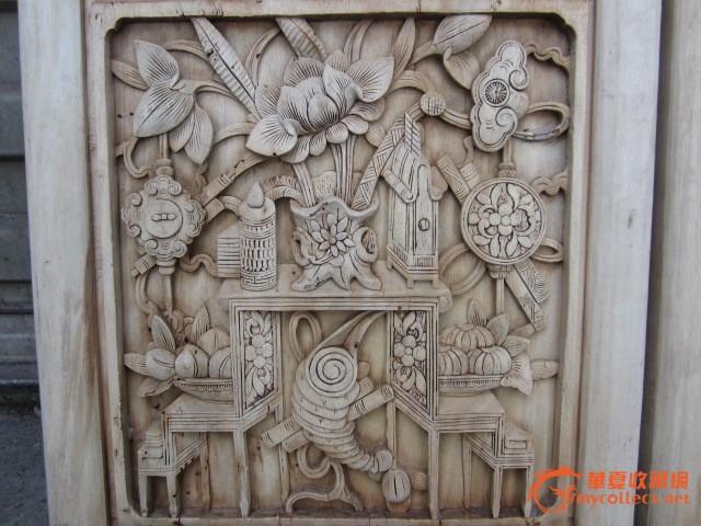 精品木雕 博古花板一对