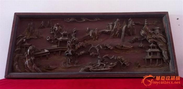 老木雕 — 高浮雕鎏金山水人物画意境看板