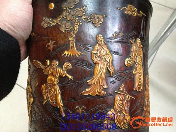 清 紫檀木镶嵌()八仙过海 大笔筒高22cm