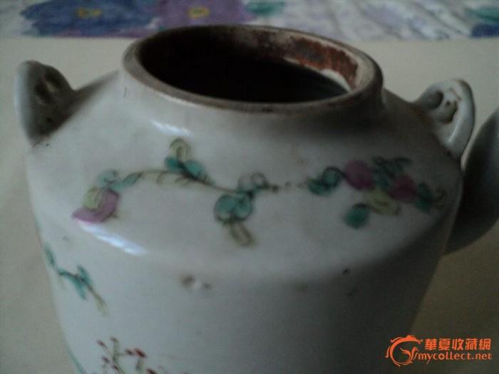 清粉彩人物提梁茶壶