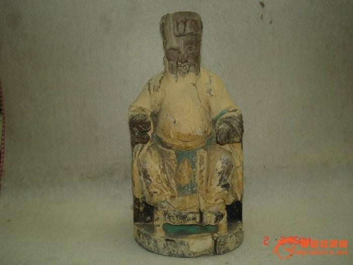 老的旧的木雕神像----土地公