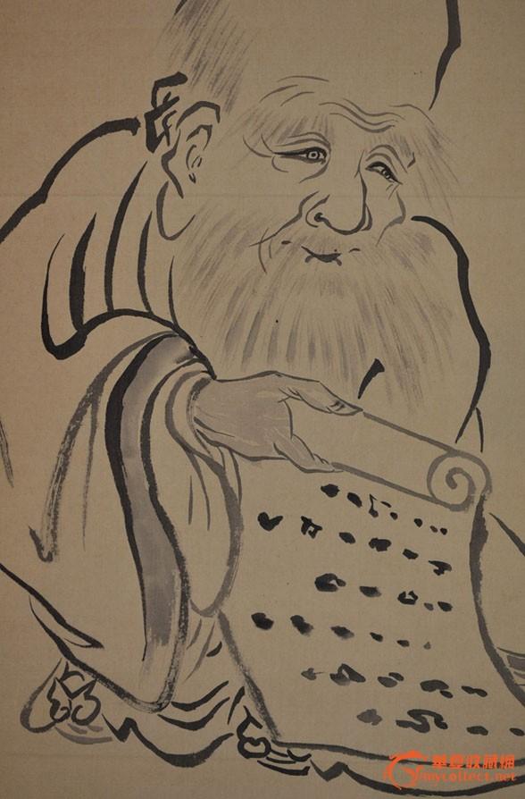 民国日本画家豚宗手绘题跋水墨神像画《南极寿星》原作立轴