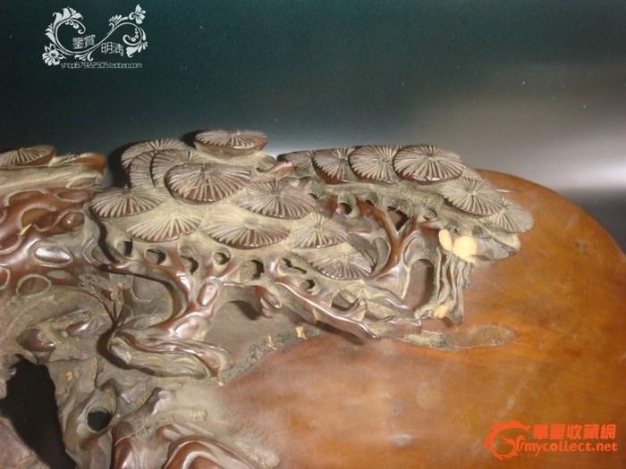 黄杨木雕镂空透雕苍劲百年松砚台