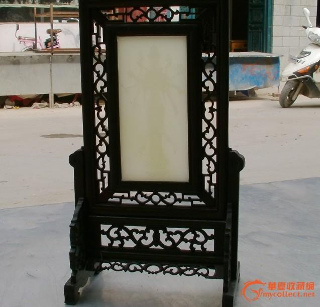 越南黑檀木框白玉屏风【千手观音】