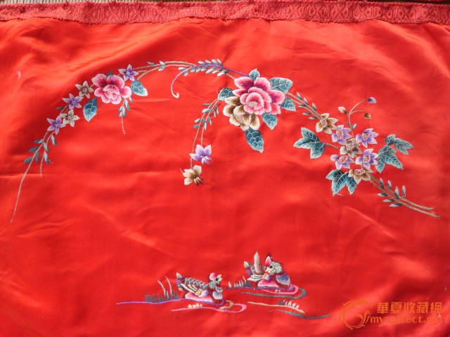 民国精美绣花和鸳鸯枕套一对