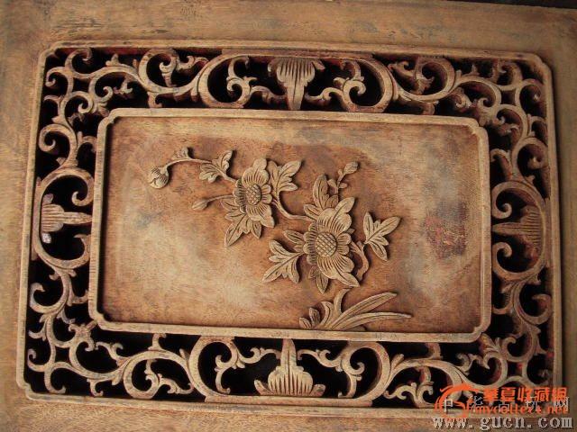 东阳镂空木雕【花开富贵】花板一对