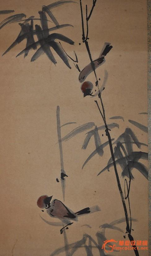 民国日本画家手绘水墨淡彩花鸟画《竹林雀鸟》原作立轴