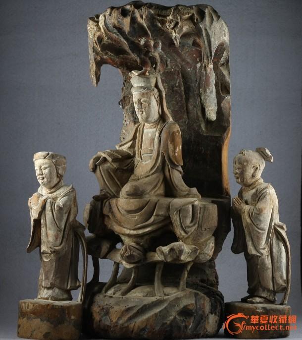 清代木雕造像 观音童子龙女一套