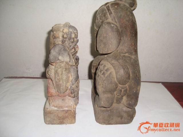 清代木雕狮子 大象摆件