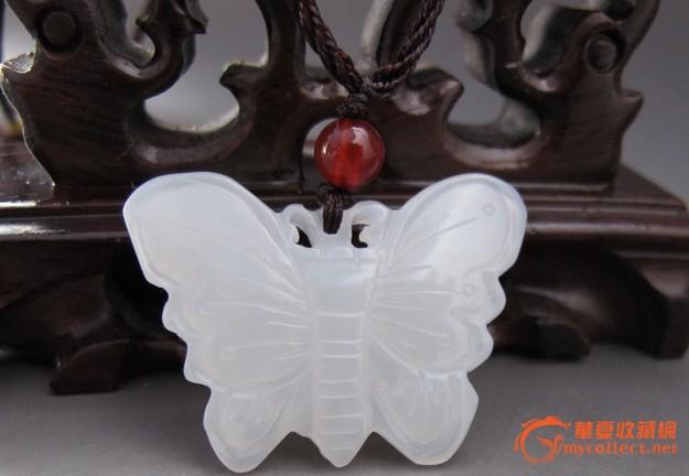 和田玉精美白玉小蝴蝶挂件.羊脂白精雕可爱挂坠,佩戴效果出色