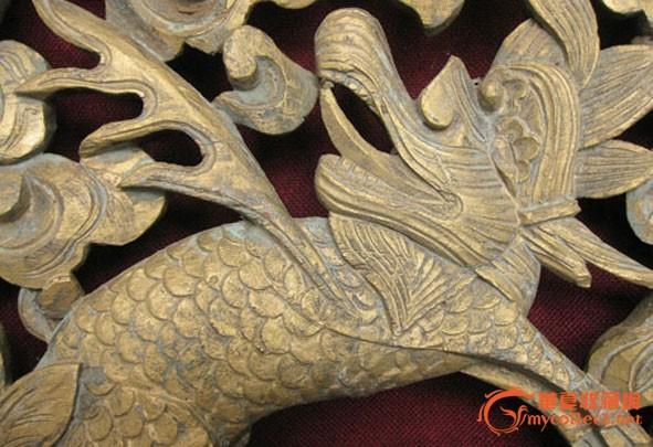 清代精美麒麟雕刻木雕板