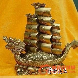 开光工艺品铜帆船模型 一帆风顺办公室摆设 家居装饰摆件