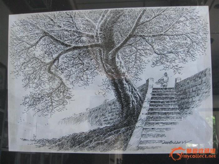 钢笔素描四川乐山五通桥古镇风景