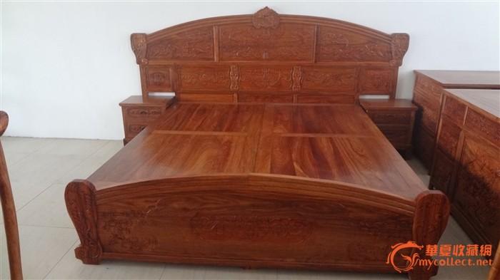 花梨木雕蝙蝠现代床三件套