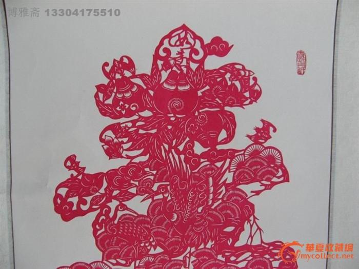4702精美的绫裱寿字剪纸挂轴