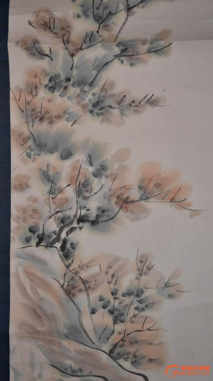 昭和期日本画家誓舟手绘水墨淡彩山水画原作立轴.